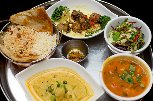 South Indian Fish Curry, Lamb Kebab, Dhal Soup, Organic Salad, Boulani, Garlic Pickle, Afghan and Basmati Rice from East is East ($28, Dine Out Vancouver)